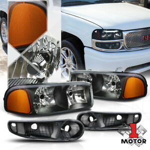 Black Housing Headlight Amber Signal bumper For 01 07 Gmc Sierra yukon Denali