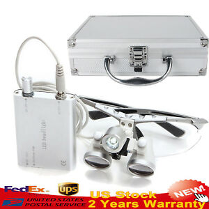 Dental Loupes 3 5x 420mm Surgical Medical Led Head Light Lamp aluminum Case Box