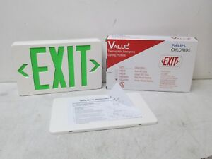 Philips Chloride Emergency Exit Sign Vegwem Green 120 277 Vac Stencil Face Plate