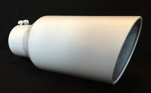 4 Inlet 8 Outlet 18 Long Gloss White Diesel Exhaust Tip Chevy Duramax