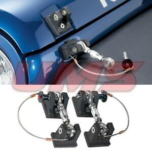 07 18 Jeep Wrangler Jk Black Sport Unlimited Aluminum Hood Latch Lock Catch Pair
