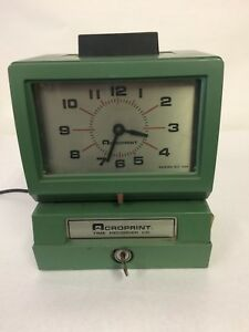 Acroprint 125rr4 Heavy Duty Manual Time Recorder Month Date Hour With Key J 19