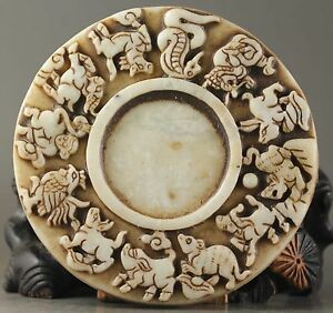 Hot Chinese Old Natural Jade Hand Carved Zodiac Inkstone No Y7