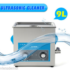 Commercial Ultrasonic Cleaner 9l Stainless Steel Sonic Bath Clearning Tank timer