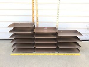 3 Vtg 4 5 6 Tier Desk Tray Organizer Industrial Metal Organizer Stacking In out