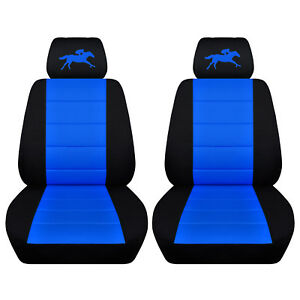 Fits 2013 To 2014 Ford Mustang Black And Medium Blue Seat Covers Racing Horse