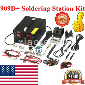 909d Rework Soldering Station Hot Heat Air Gun Dc Usb Power Supply 110v 220v Ac