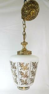 Vintage Hanging Pendant Light Swag Light Glass Globe Gold Hollywood Regency