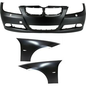 Bumper Cover Kit For 2007 2008 Bmw 328i 2006 330i Front 3pcs