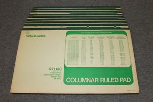 10 Vintage Columnar Ruled Pads Wilson Jones Green Tint Description 14x8 5 G7113c