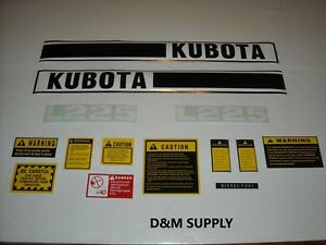 Tractor Decal Set With Generic Caution Kit To Fit Kubota L225