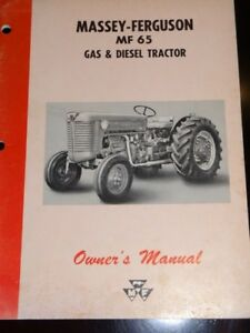 Massey Ferguson Mf 65 Gas Diesel Tractor Owner s Manual