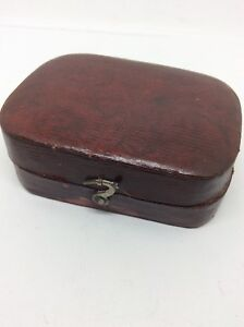 C1800 Georgian Snuff Box Or Large Vinaigrette Red Leather Retailers Case Box