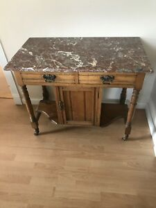 Antique English Washstand Cabinet Kitchen Cart Marble Top