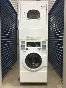 Speed Queen Stacked Coin Op Electric Washer W gas Dryer Orig Owner 4 Yrs Old