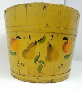 Antique Tole Painted Wooden Firkin Banded Bucket Signed Lehman Primitive Farm