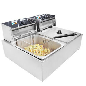 New Commercial Restaurant Electric 11l Deep Fryer Stainless Steel Dual Tank