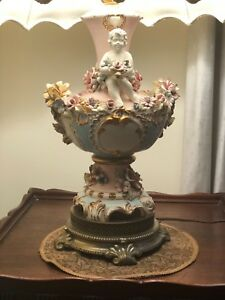 1958 Antique Capodimonte Porcelain Lamp With Angels Italy Great Condition
