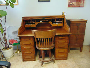 Antique Golden Oak Roll Top Desk Chair Andfile Cabinet