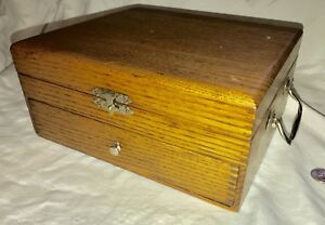 Antique 1 4 Sawn Oak Document Box With 1 Drawer Fingerjoint Construction