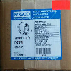 Fasco D775 Hvac Blower Motor 1 5 1 8 Hp 208v Double Shaft Fast Ship New