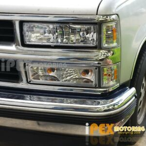 8pcs Chrome 1994 1998 Chevy Silverado Tahoe Head Light Corner Signal Lamp