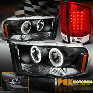 2002 2005 Dodge Ram Halo Rim Projector Black Headlights Led Red Tail Light