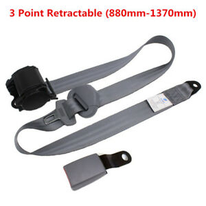 Retractable 3 Point Universal Car Safety Seat Belts Lap With Curved Rigid Buckle