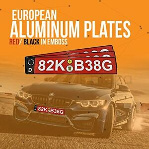 Dealsplaza European License Plate Aluminum Black Red Embossed Country Sidebar