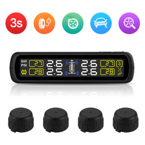 Solar Tpms Real time Monitoring Tire Tyre Pressure Temp Gauge 4x Sensors Ma1323