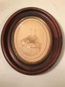 Vintage Antique Wooden 1848 Oval Picture Frame Women Grandmother Picture Glass