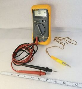 Fluke 16 Dmm Scuffy Holster With Writing Used Leads And Temp Probe Names