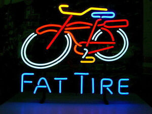 Fat Tire Neon Sign Display Beer Bar Pub Garage Mancave Real Neon Custom Z299