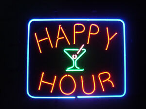 Happy Hour Neon Sign Display Store Beer Bar Pub Real Neon Light Custom Sign Z179