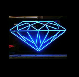 Diamond Jewelry Neon Sign Display Beer Bar Pub Mancave Real Neon Light Xmas Z302
