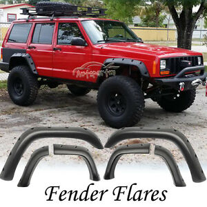 6x Pocket Style Rivet Fender Flare Black Abs For Most 1984 2001 Jeep Cherokee Xj