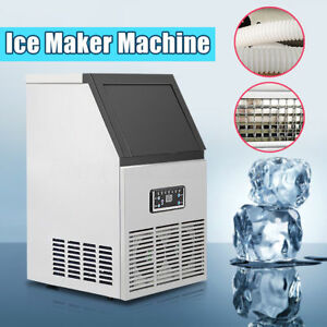 40kg 88lbs Commercial Bar Ice Maker Cube Machines Stainless Steel 110v Usa Ship