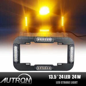 13 5 24w Led Amber Warn Flash Traffic Adviser Strobe License Plate Light 12 24v