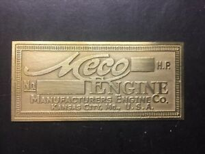 New Meco Brass Data Tag Antique Gas Engine Hit Miss