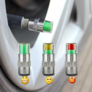 Car Tyre Pressure Stem Valve Caps 4pcs Sensor Color Indicator Tyres Air Cap New