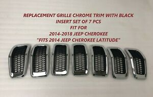 Replacement Grille Fit For Jeep Cherokee Chrome Black 2014 2015 2016 2017 2018