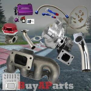 T3 T4 Turbo Manifold Red Wastegate Purple Boost Controller Kit For Civic 01 05