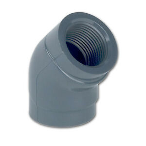 4 Npt Schedule 80 Gray Pvc Threaded 45 degree Elbow