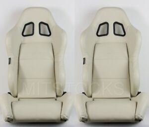 2 X Tanaka Beige Pvc Leather Racing Seats Reclinable Sliders Fit For Chevy A