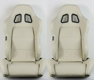 2 X Tanaka Beige Pvc Leather Racing Seats Reclinable Sliders Fit For Chevy B