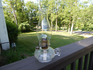 Vintage Oil Lamp Pressed Glass Ribbed Finger Lamp With Scovill Burner