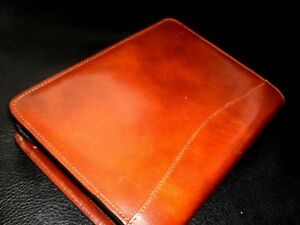 Classic Brown Leather Scully 3 ring Planner Unused