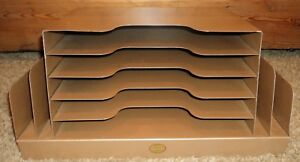 Curmanco Vintage Brown Metal Desk Top In Out Box 5 Tier File Folder Office Usa