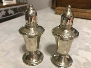 Vintage Pair Duchin Creation Weighted Sterling Silver Glass Salt Pepper Shakers