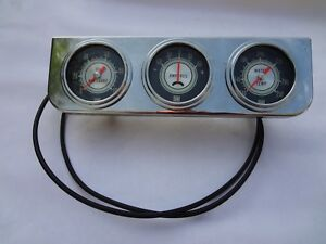 Stewart Warner Green Line 3 Gauge Set Sw Oil Pressure Water Temp Amps 2 5 8